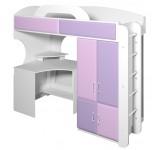Кровать-чердак со столом и шкафом Фреш