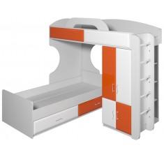 Двухъярусная кровать со шкафом Пионер вариант 5