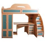 Детская кровать-чердак Злата со столом и шкафом