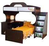 Двухъярусная кровать Пионер МДФ с письменным столом, цвет венге