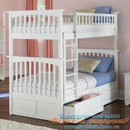 Белую двухъярусную детскую кровать  магазине
