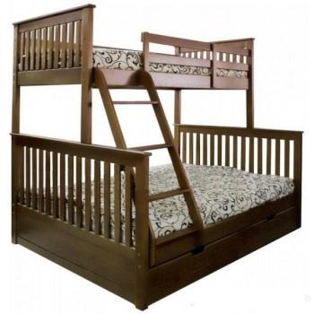 Двухэтажная кровать из дерева Олимп с матрасами