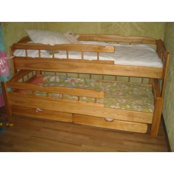 Двоярусная детская кровать из ясеня с ящиками Антошка