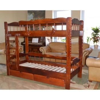 Двухьярусная кровать Старый корабль в цвете махонь