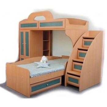 Двухъярусная кровать Злата c лестницей-горкой и шкафом